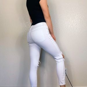 Free People Jeans - Free People Busted Knee White Skinny Jeans